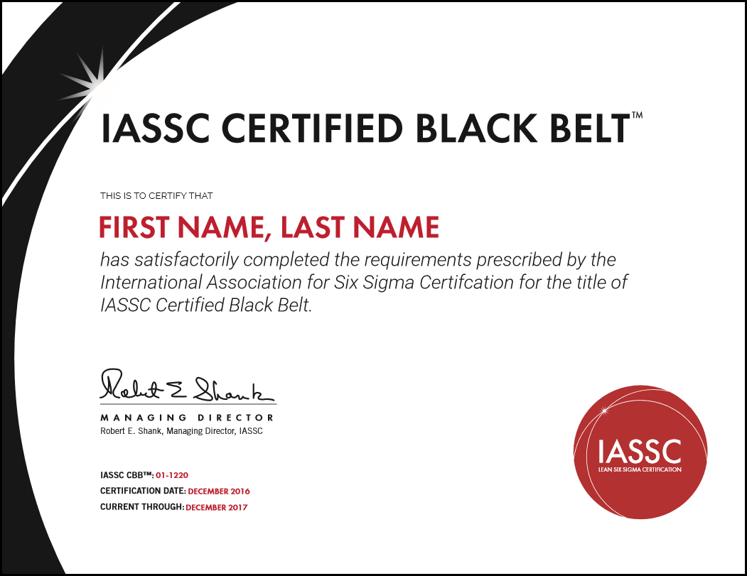 Iassc lean six sigma black belt exam included hudson an example of an official iassc six sigma black belt certification which you will gain upon completion of this course and passing the official exam xflitez Gallery
